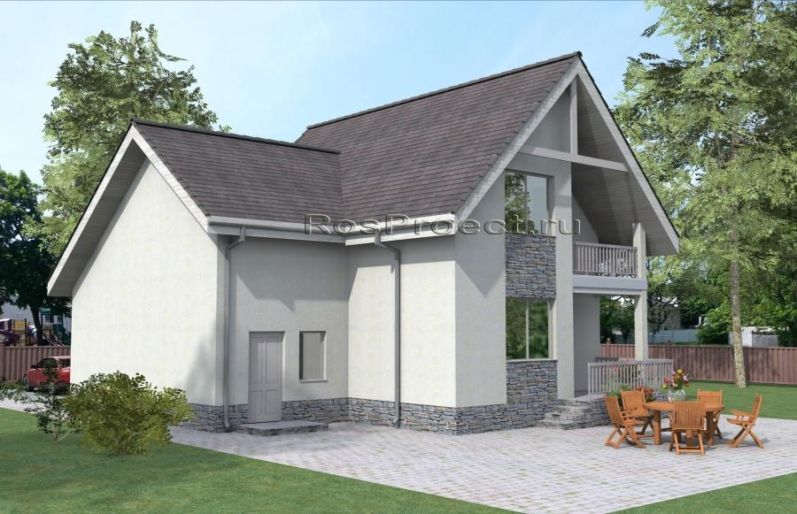 Дом с мансардой, гаражом, террасой и балконом rpg1003.