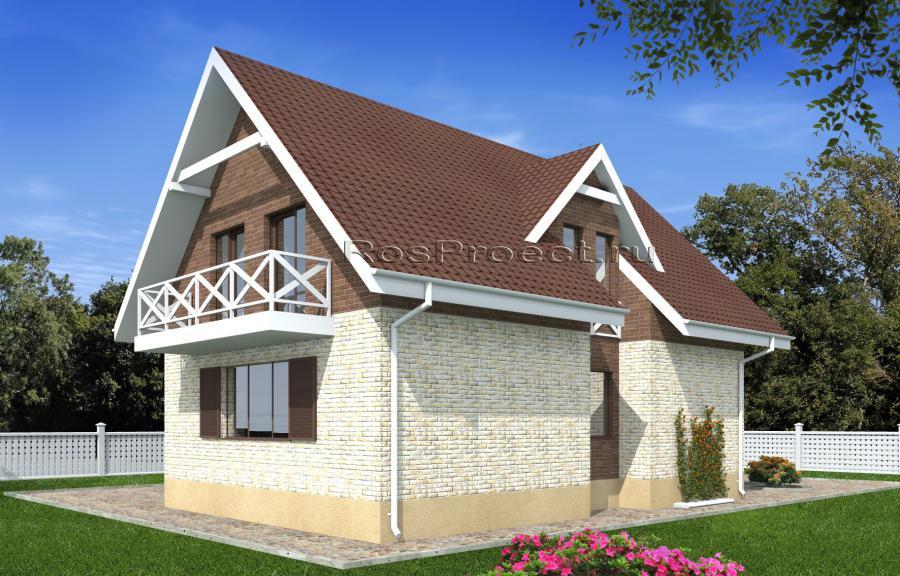 Дом с мансардой, гаражом и балконом rpg2333.