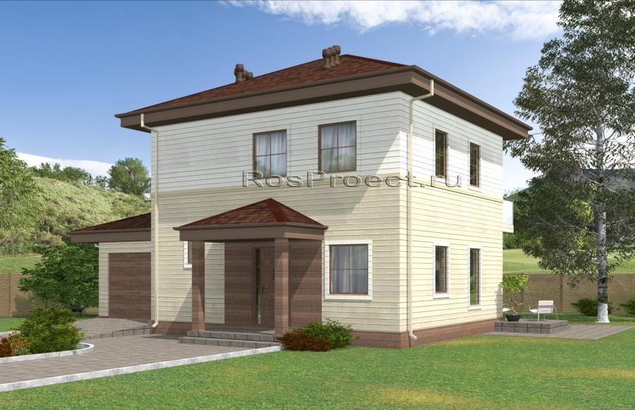 Двухэтажный дом с гаражом, террасой и балконом rpg2458.