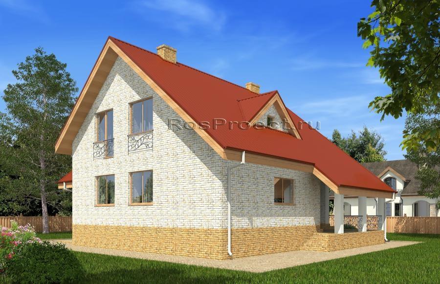 Одноэтажный дом с мансардой, гаражом, террасой и балконом rp.
