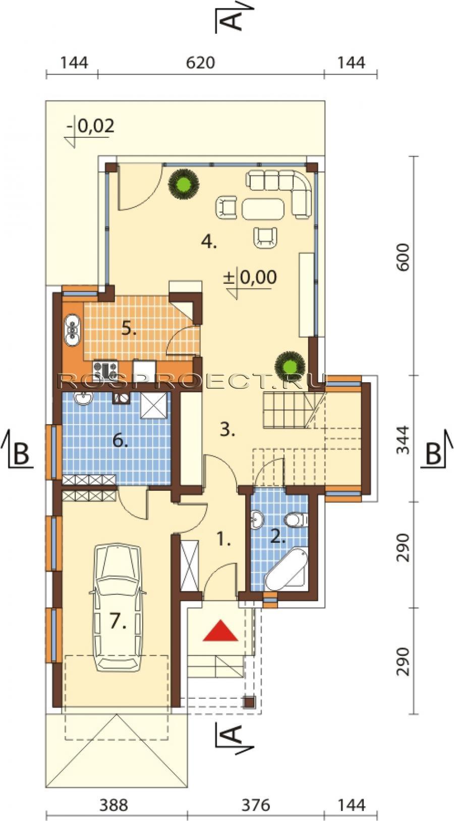 схема одноэтажных частных домов с фото