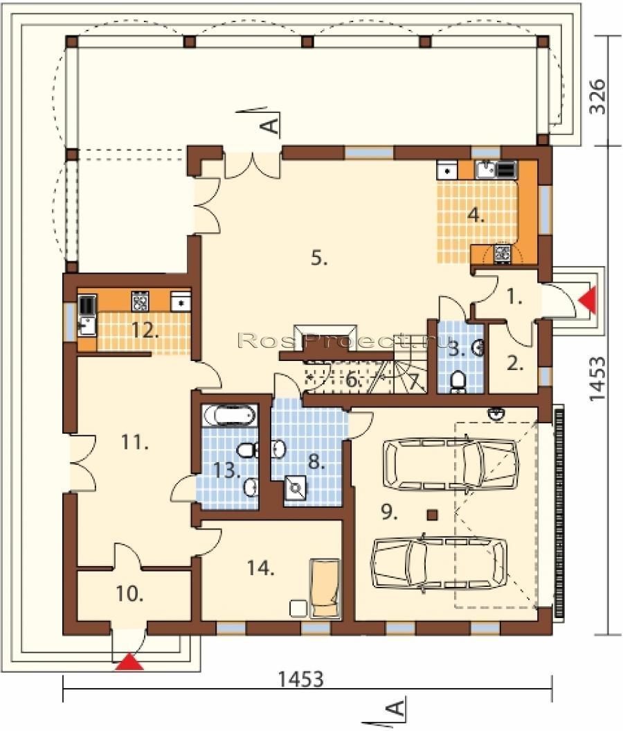 Двухэтажного дома с гаражом rp856