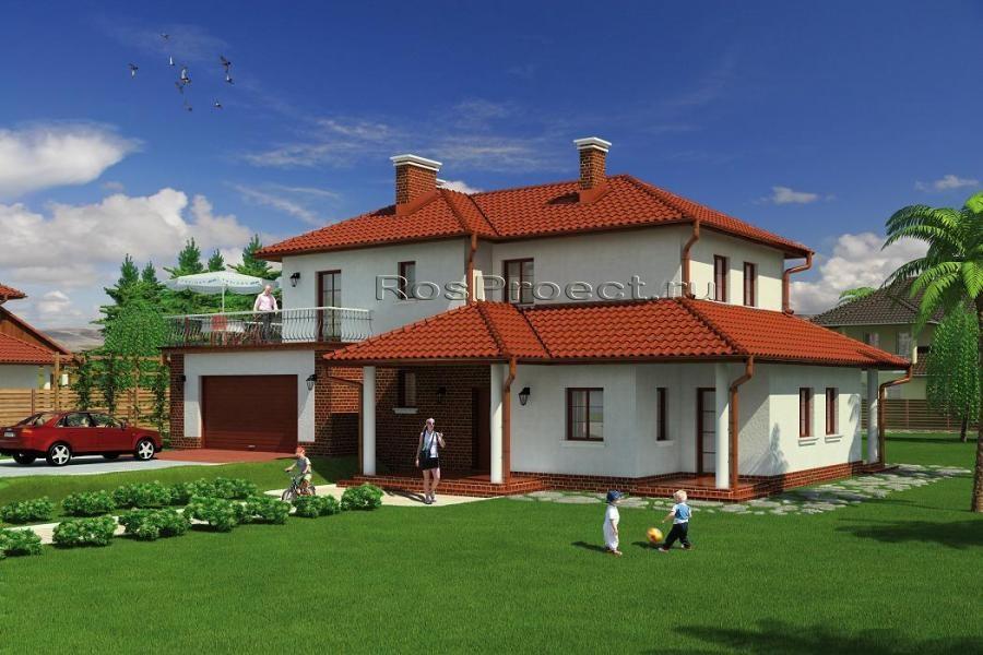 Загородный дом с террасой и гаражом r1384z (зеркальная верси.
